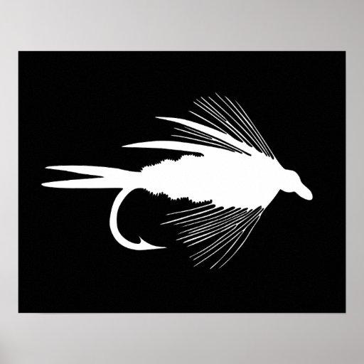 Gráfico blanco del señuelo de la pesca con mosca poster