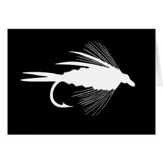 Gráfico blanco del señuelo de la pesca con mosca tarjetas