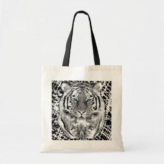 Gráfico blanco y negro del tigre de los ojos bolsas
