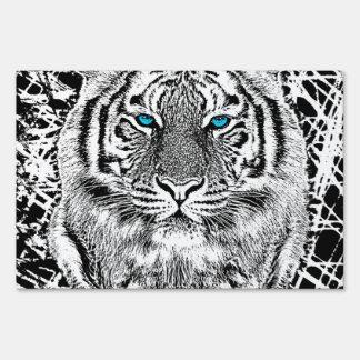 Gráfico blanco y negro del tigre de los ojos letreros