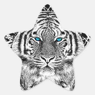 Gráfico blanco y negro del tigre de los ojos colcomanias forma de estrellas