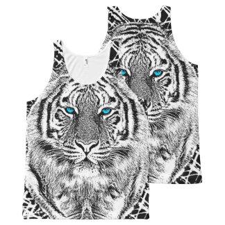 Gráfico blanco y negro del tigre de los ojos playera de tirantes con estampado integral