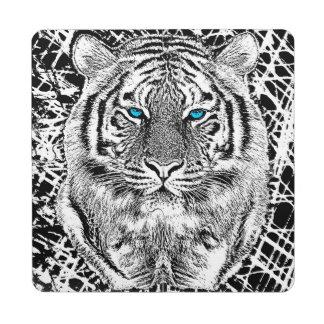 Gráfico blanco y negro del tigre de los ojos posavasos de puzzle