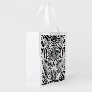 Gráfico blanco y negro del tigre de los ojos bolsas reutilizables