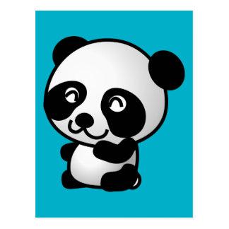 Gráfico blanco y negro lindo del oso de panda del postal
