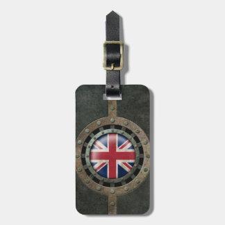Gráfico británico de acero industrial del disco de etiqueta de equipaje
