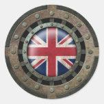 Gráfico británico de acero industrial del disco de pegatina redonda