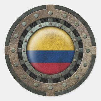 Gráfico colombiano de acero industrial del disco pegatina redonda