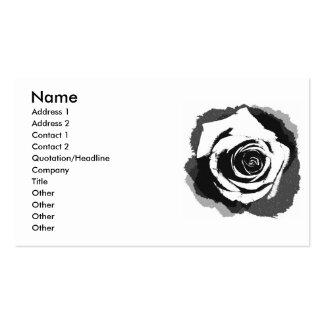 Gráfico color de rosa blanco y negro tarjetas de visita
