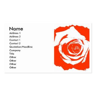 Gráfico color de rosa rígido rojo y blanco de la f tarjeta de visita