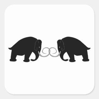 Gráfico de 2 mamuts pegatina cuadrada