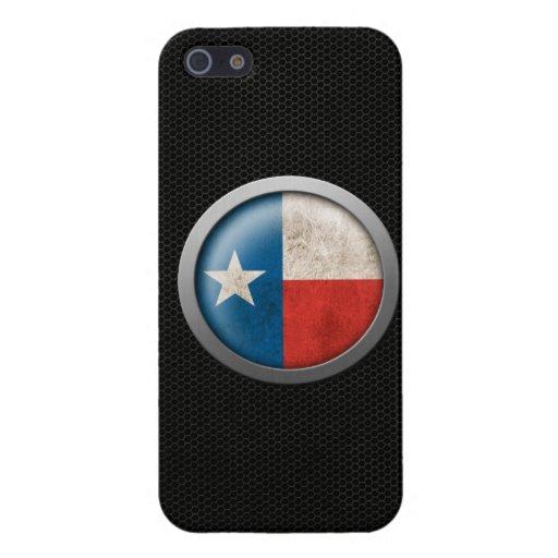 Gráfico de acero del disco de la bandera de Tejas  iPhone 5 Carcasa