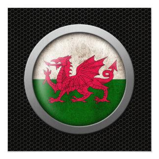"""Gráfico de acero del disco de la bandera Galés de Invitación 5.25"""" X 5.25"""""""