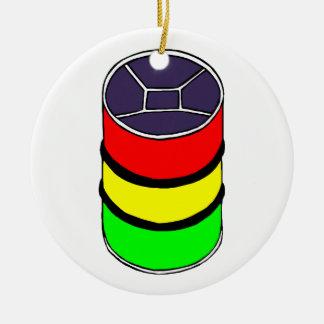 Gráfico de acero del diseño del tambor de acero de adorno navideño redondo de cerámica