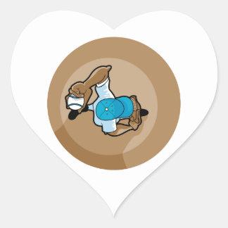 gráfico de arriba de la opinión de la echada de la pegatina en forma de corazón