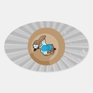 gráfico de arriba de la opinión de la echada de la pegatina ovalada