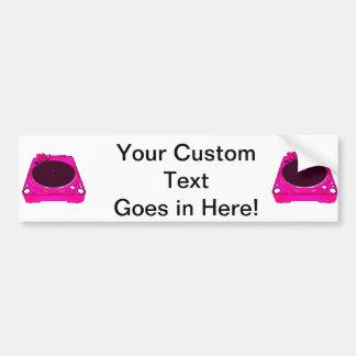 Gráfico de color rosado del tocadiscos pegatina para auto