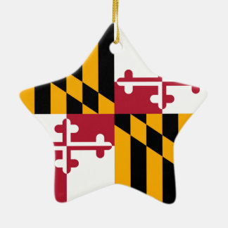 Gráfico de colores de la bandera del estado de adorno navideño de cerámica en forma de estrella
