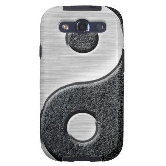 Gráfico de cuero y de acero de Yin Yang del efecto Samsung Galaxy S3 Carcasa
