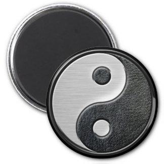 Gráfico de cuero y de acero de Yin Yang del efecto Imán Redondo 5 Cm