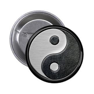 Gráfico de cuero y de acero de Yin Yang del efecto Pin Redondo De 2 Pulgadas