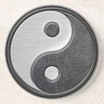 Gráfico de cuero y de acero de Yin Yang del efecto Posavasos Para Bebidas
