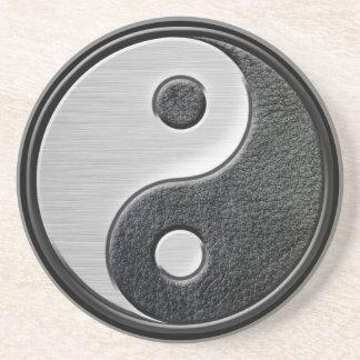 Gráfico de cuero y de acero de Yin Yang del efecto Posavasos Manualidades
