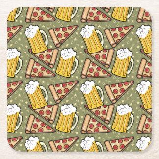 Gráfico de la cerveza y de la pizza posavasos de cartón cuadrado