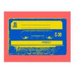 Gráfico de la cinta de casete del arte pop en amar tarjeta postal