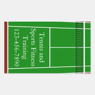 Gráfico de la disposición del campo de tenis pegatina rectangular