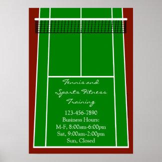 Gráfico de la disposición del campo de tenis póster
