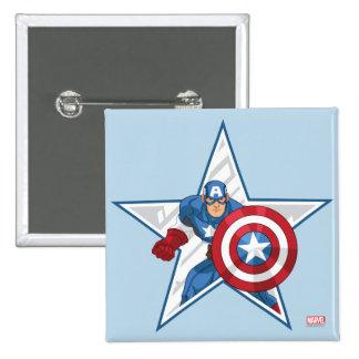 Gráfico de la estrella de capitán América Pin Cuadrado