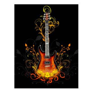 Gráfico de la guitarra eléctrica tarjetas postales