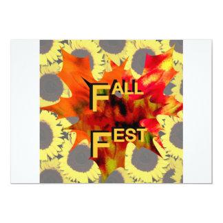 Gráfico de la hoja y del girasol del Fest de la Invitación 12,7 X 17,8 Cm