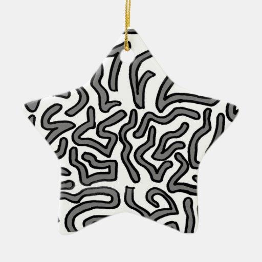 Gráfico de la imagen del doodle del ruido gris y adorno navideño de cerámica en forma de estrella