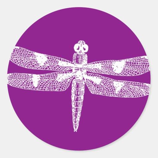 Gráfico de la libélula pegatina redonda