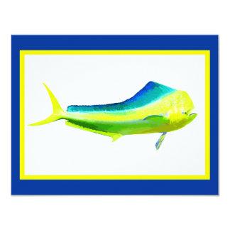 "Gráfico de la pesca del agua salada de Mahi Mahi Invitación 4.25"" X 5.5"""