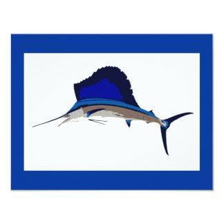 """Gráfico de la pesca del pez volador invitación 4.25"""" x 5.5"""""""