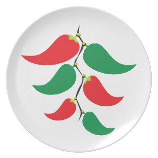 Gráfico de la pimienta roja y verde en una secuenc plato