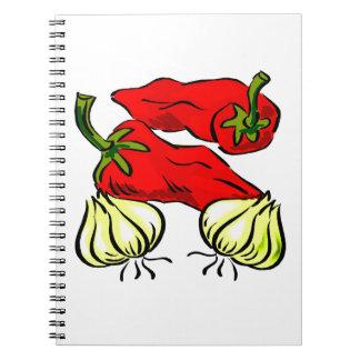Gráfico de la pimienta y de la cebolla del chile p cuadernos