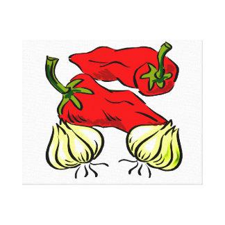 Gráfico de la pimienta y de la cebolla del chile p lona envuelta para galerías