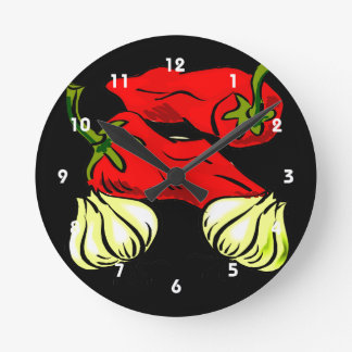 Gráfico de la pimienta y de la cebolla del chile p reloj redondo mediano