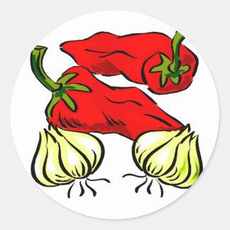 Gráfico de la pimienta y de la cebolla del chile pegatina redonda