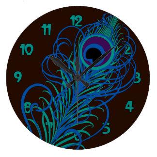Gráfico de la pluma del pavo real reloj redondo grande