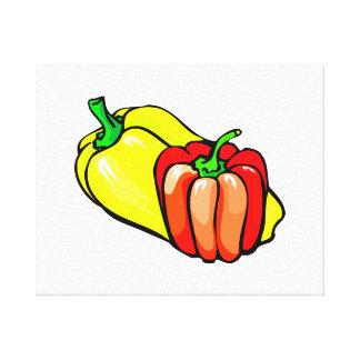 Gráfico de las pimientas amarillo brillante y rojo impresión en lona