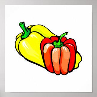 Gráfico de las pimientas amarillo brillante y rojo posters
