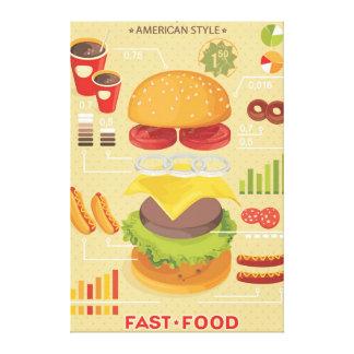 Gráfico de los alimentos de preparación rápida Inf Lienzo Envuelto Para Galerias