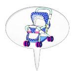 Gráfico de lujo del cochecito de bebé azul decoración de tarta