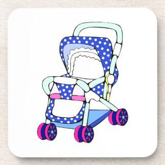 Gráfico de lujo del cochecito de bebé azul posavasos
