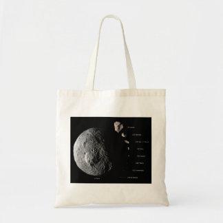 Gráfico de tallas comparativo de nueve asteroides bolsa tela barata